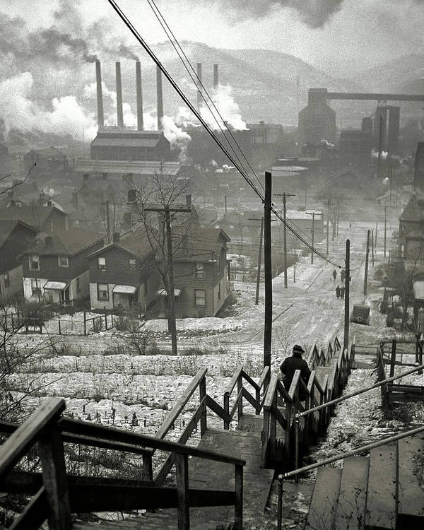 Pittsburgh Mill District  1940 by Daniel Hagerman