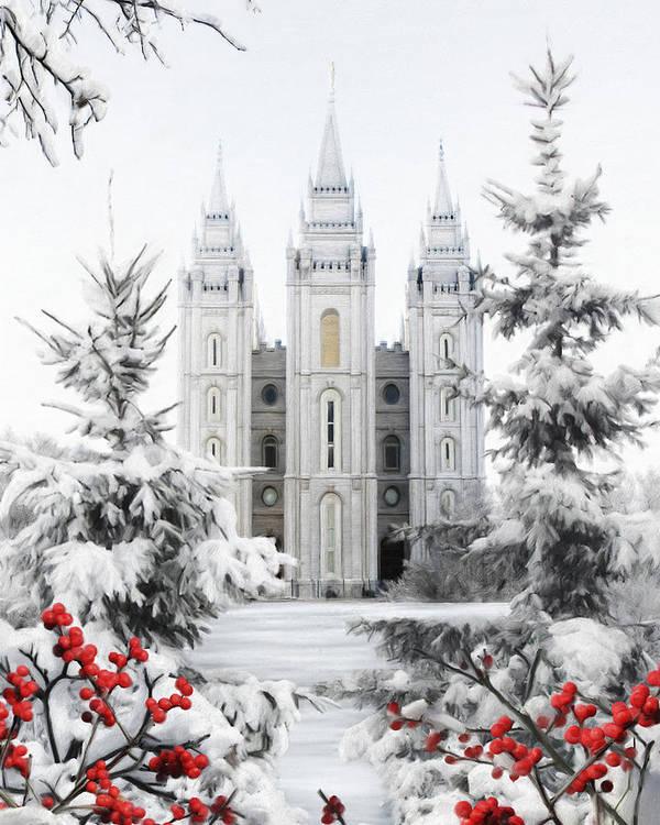 Salt Lake Art Print featuring the painting Salt Lake Temple - Winter Wonderland by Brent Borup