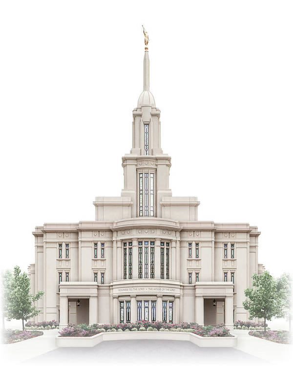 Payson Art Print featuring the digital art Payson Temple - Celestial Series by Brent Borup