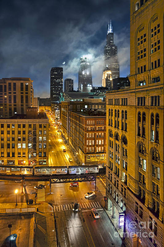 Chicago Art Print featuring the photograph Moon Over Old Chicago by Chuck Brittenham