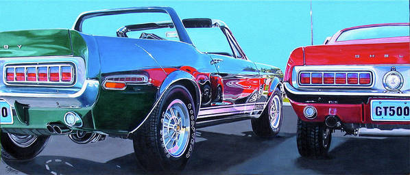 Car Art Print featuring the painting Muscle Control by Lynn Masters