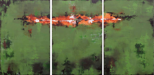 XXL Green Echoes V Abstract Painting by Susan Wooler