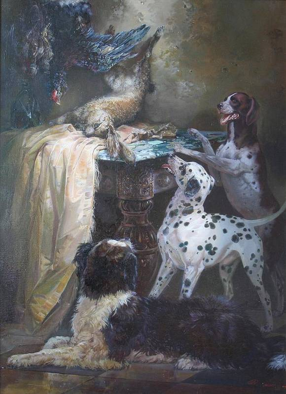 Dogs Art Print featuring the painting Game by Anatoly Melnikov