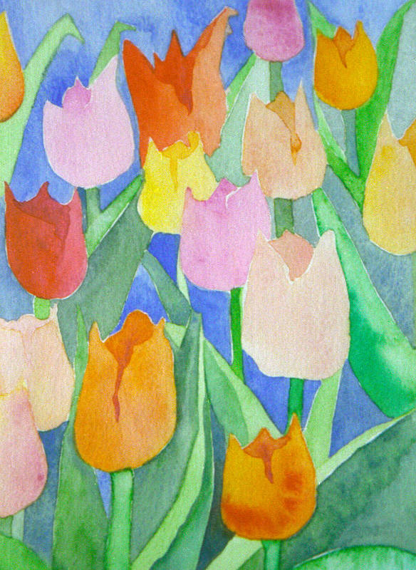 Tulips Art Print featuring the painting Tulips Multicolor by Ingela Christina Rahm
