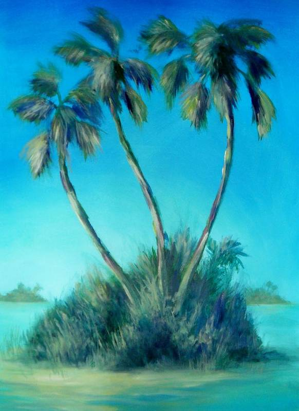 Palm Trees Art Print featuring the painting Three Palm Island by Renee Shular