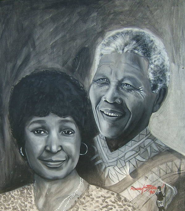 From Black & White Series Art Print featuring the painting Nelson And Winnie by Howard Stroman