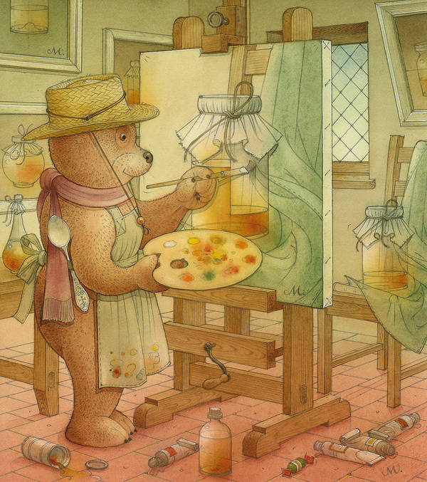 Artist Painting Bear Animals Honey Still-life Art Print featuring the painting Artist by Kestutis Kasparavicius
