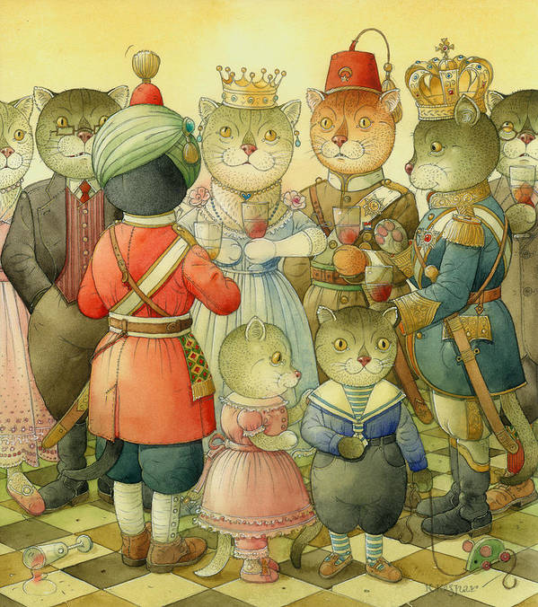 Cats Art Print featuring the painting Coctail Party by Kestutis Kasparavicius