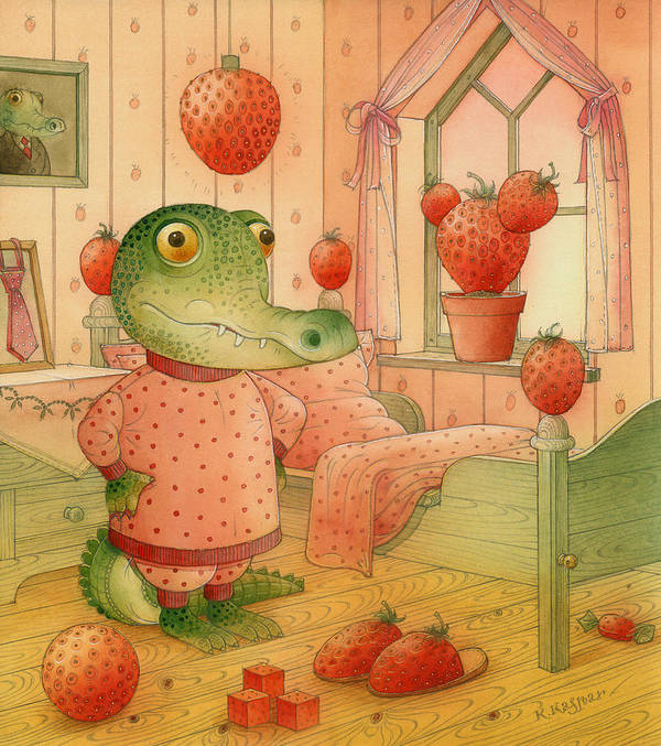 Strawberry Childrens Room Dream Art Print featuring the painting Strawberry Day by Kestutis Kasparavicius