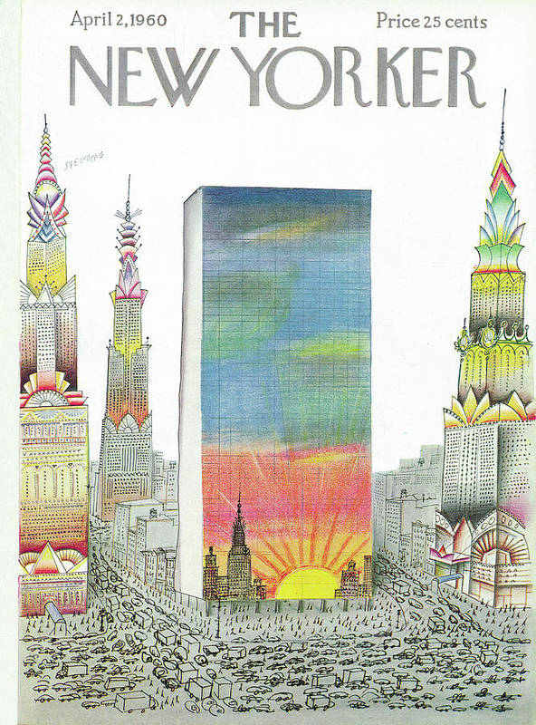 New Yorker April 2nd, 1960 by Saul Steinberg