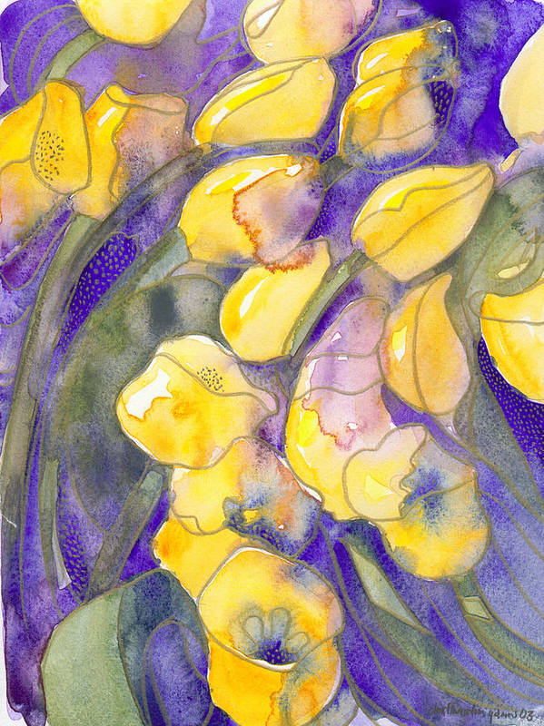 Yellow Tulips Art Print featuring the painting Yellow Tulips 3 by Ingela Christina Rahm