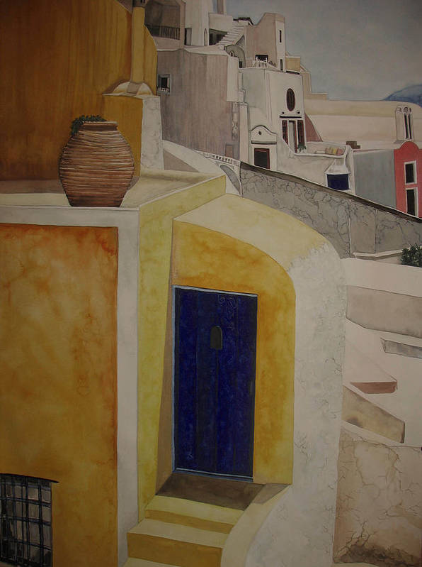 Watercolor Art Print featuring the painting Greekscape 2 by Caron Sloan Zuger