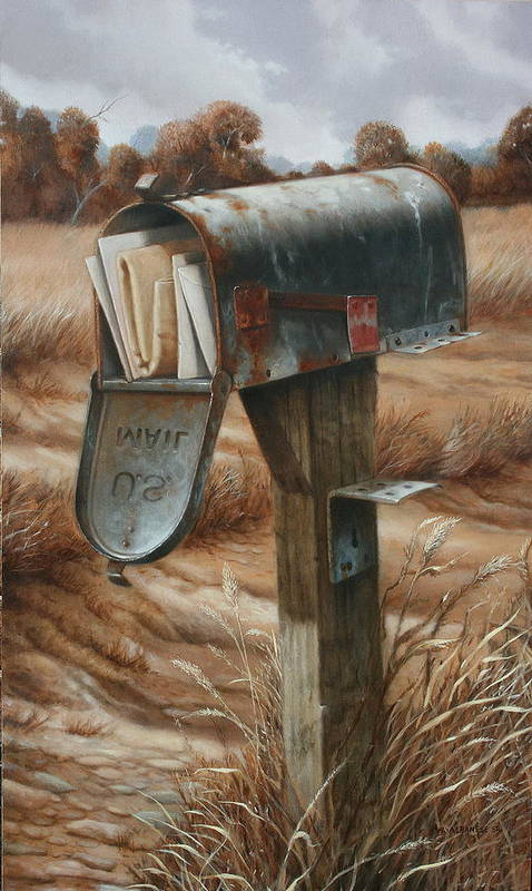 Old Mail Box Art Print featuring the painting On Vacation by William Albanese Sr