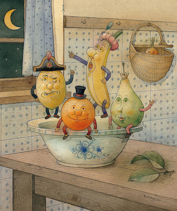 Night Moon Fruits Kitchen Art Print featuring the painting Fruits by Kestutis Kasparavicius