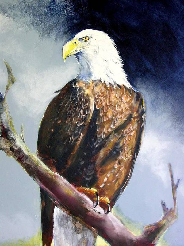 Wildlife Art Print featuring the painting Bald Eagle by Paul Miller