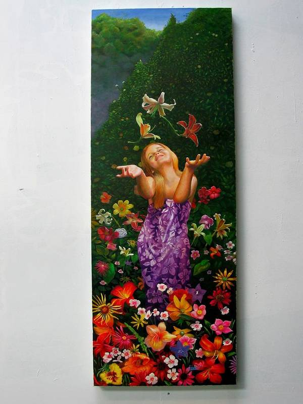 Joy/young Girl/ Flowers/outdoors/nature Art Print featuring the painting Joyeuse by RC Bailey