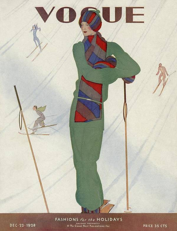 A Vintage Vogue Magazine Cover Of A Woman by Jean Pages