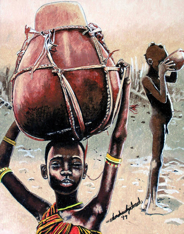 Black Art Art Print featuring the painting Thirst Quencher by Andre Ajibade
