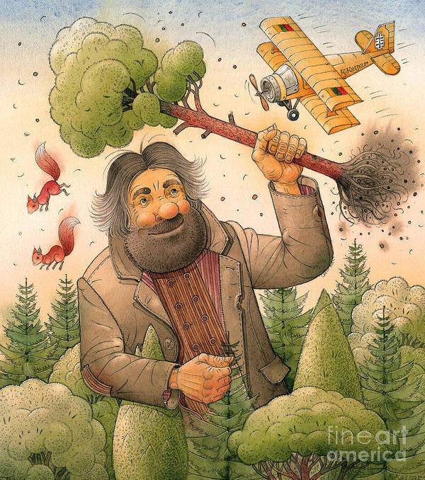 Giant Forest Landscape Tree Airplane Art Print featuring the painting Giant by Kestutis Kasparavicius