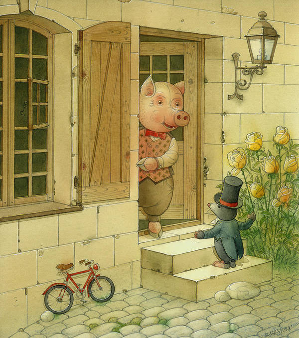 Singer Pig Mole Street Town Roses Animals Art Print featuring the painting Singing Piglet by Kestutis Kasparavicius