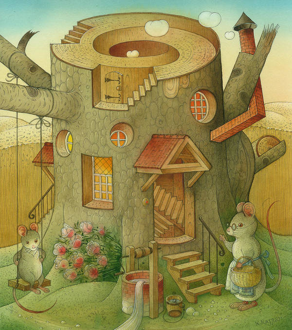 Landscape Mouse Mystique House Tree Art Print featuring the painting Wrong World by Kestutis Kasparavicius