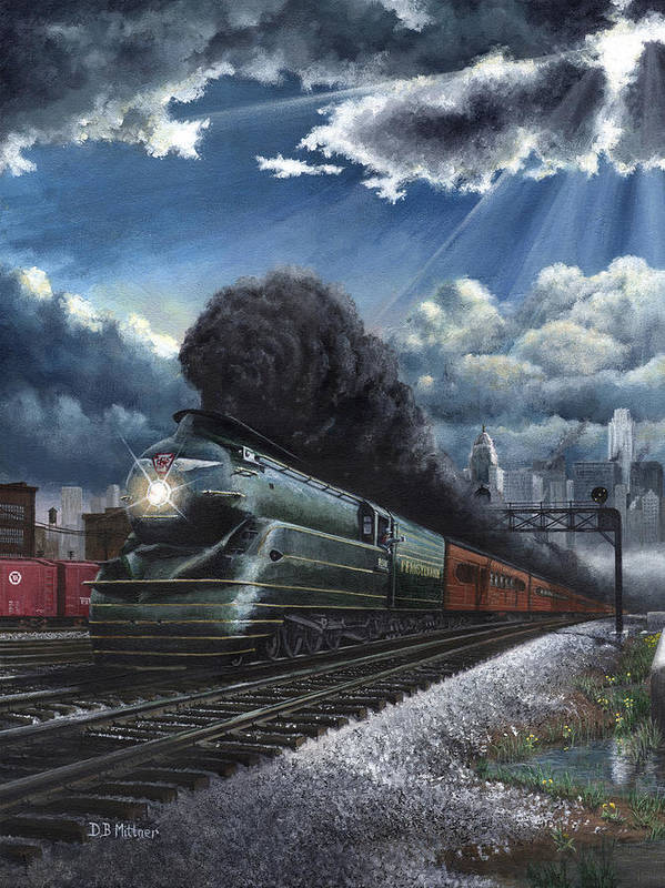 Train Art Print featuring the painting Eastbound Broadway Limited by David Mittner