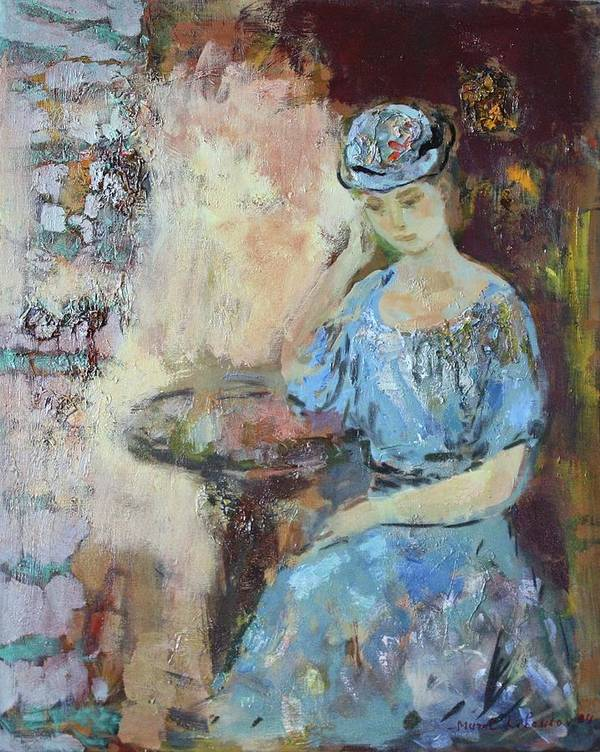 Woman Seated At The Table Art Print featuring the painting At The Table by Murat Kaboulov