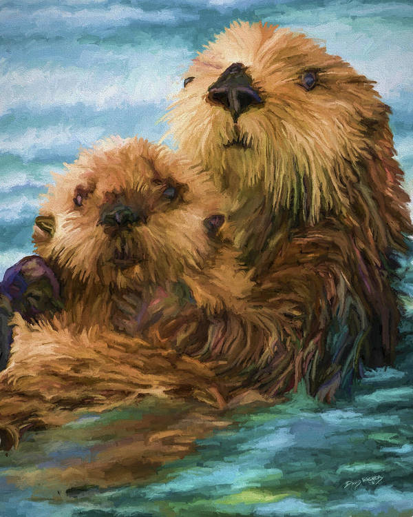 Sea Otter Mom and Pup by David Wagner