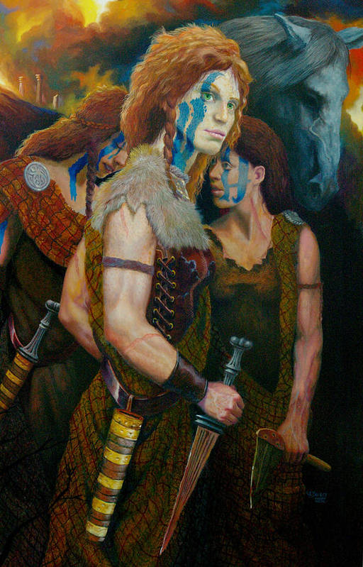 Historic Women Of Briton Art Print featuring the painting Boudica by RC Bailey