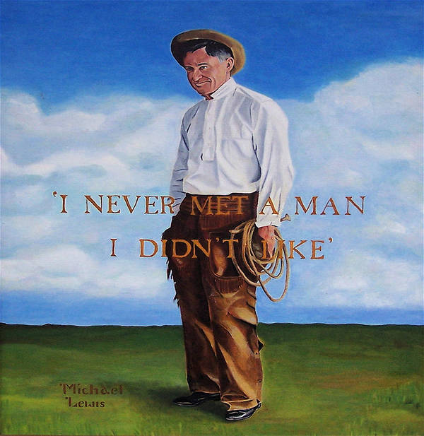 Oil Art Print featuring the painting Will Rogers by Michael Lewis