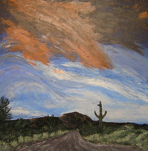 Landscape Art Print featuring the painting The Lonely Road by Ricklene Wren