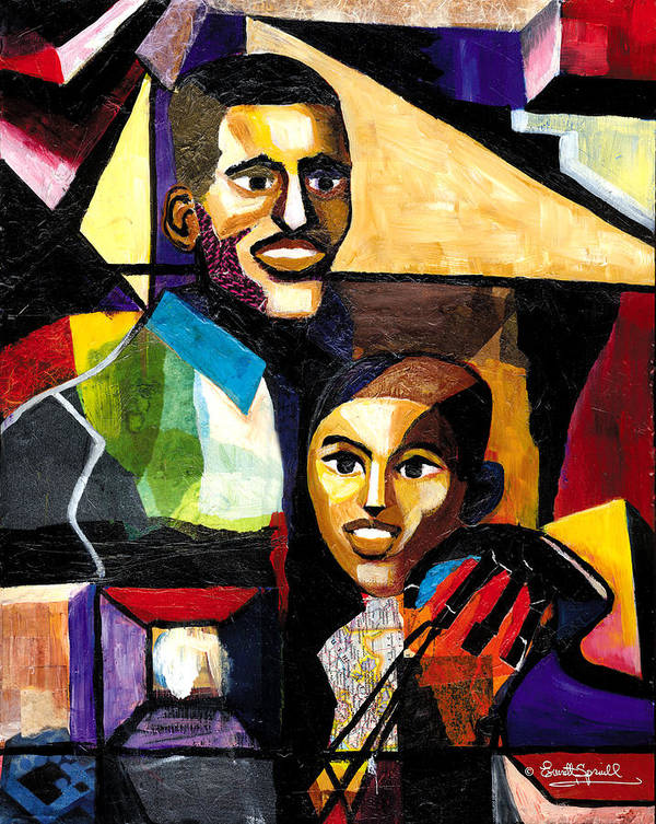 Everett Spruill Art Print featuring the painting Me and Dad by Everett Spruill