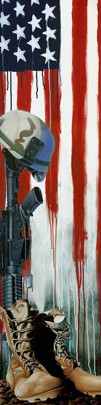 Memorial Art Print featuring the painting Fallen Hero by Marlon Huynh