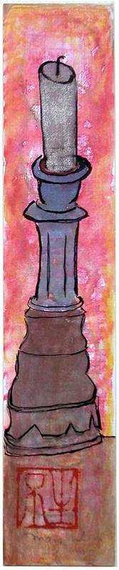Art Print featuring the painting A Cynthia Bringle Candlestick by Margaret Ann Johnson Wilmot