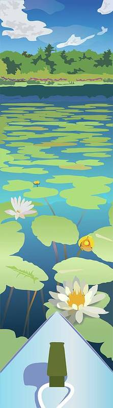 Lake Art Print featuring the digital art Kayak In Lilies by Marian Federspiel