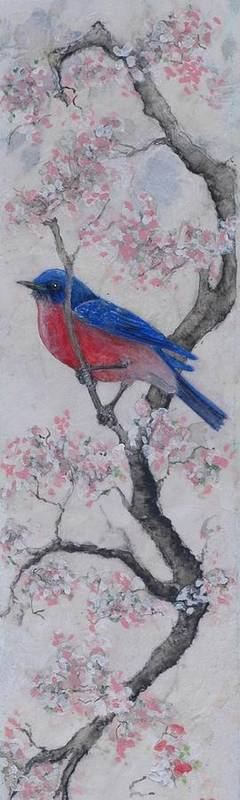 Bluebird Art Print featuring the painting Bluebird In Cherry Blossoms by Sandy Clift