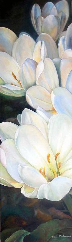 Floral Painting Art Print featuring the painting Crocus by Muriel Dolemieux