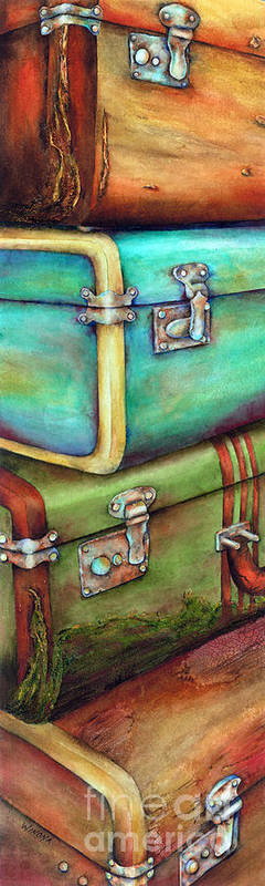Stacked Suitcases Art Print featuring the painting Stacked Vintage Luggage by Winona Steunenberg