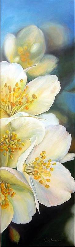 Floral Painting Art Print featuring the painting Eglantine by Muriel Dolemieux
