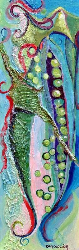 Peas Art Print featuring the painting I Give You Peas by Ginger Concepcion
