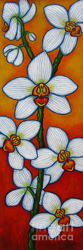 Orchids Art Print featuring the painting Orchid Oasis by Lisa Lorenz