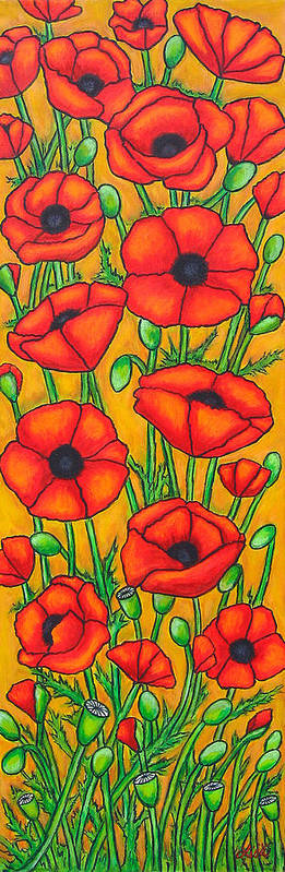 Poppies Art Print featuring the painting Poppies Under the Tuscan Sun by Lisa Lorenz