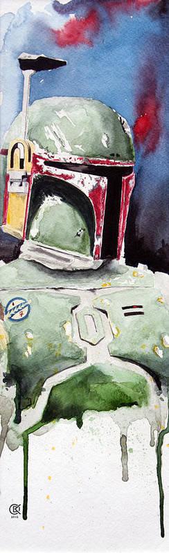 Star Wars Print featuring the painting Boba Fett by David Kraig