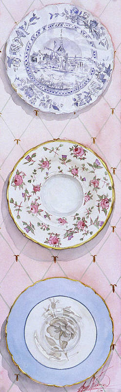 Plates Art Print featuring the painting Plate Collection I by Leah Wiedemer