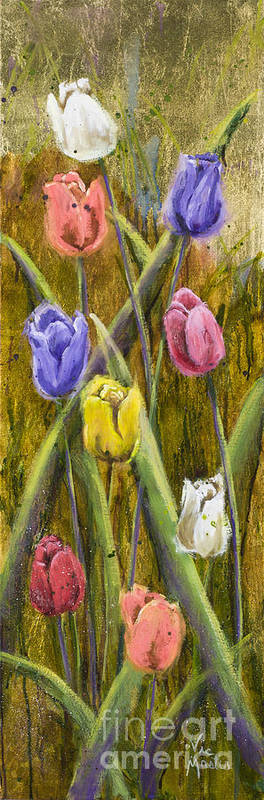 Tulip Art Print featuring the painting Splashy Tulips by Vic Mastis