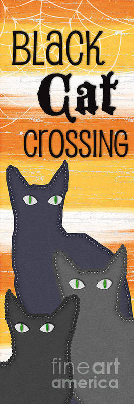 Cat Print featuring the painting Black Cat Crossing by Linda Woods
