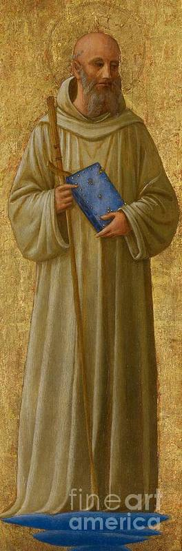 St. Romuald; Saint; Male; Full Length; Portrait; Bible; Book; Staff; Cross; Christian; Religious Art Print featuring the painting Saint Romuald by Fra Angelico