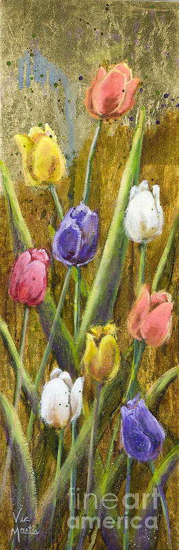 Splash Art Print featuring the painting Splashy Tulips II With Gold Leaf By Vic Mastis by Vic Mastis