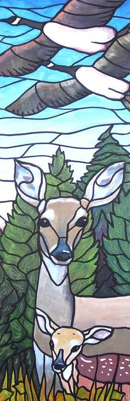 Deer Art Print featuring the painting Deer Scene by Jim Harris