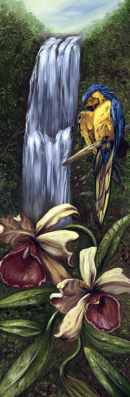 Birds Art Print featuring the painting Guardian Of The Falls by Anne Kushnick